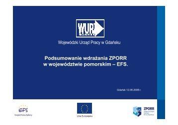 Podsumowanie wdrażania ZPORR w województwie pomorskim – EFS