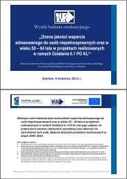 Ocena jakości wsparcia adresowanego do osób ... - Gdańsk