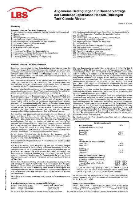 L Allgemeine Bedingungen Für Bausparverträge Der Lbs