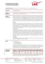 Produktinformationsblatt für Tarife Classic Wohn-Riester, gültig ... - Lbs