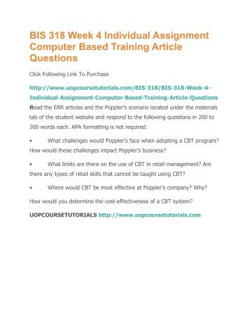 computer based training article questions However, use of computer-based training by itself would not be sufficient  it is  critical that trainees have the opportunity to ask questions where.