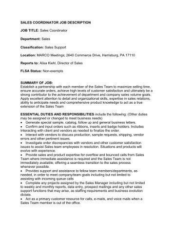 Job description – Sales Coordinator - wcib intranet