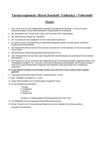 Turnierreglement Mixed (Fussball / Unihockey / Volleyball)