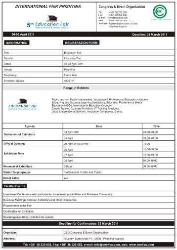 Registration Form - EDUCATION 2011.cdr - kosovafair.com