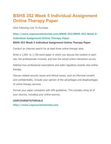 online therapy paper Fenichel, m (2002) 'online psychotherapy: technical difficulties, formulations and processes' [available online] this paper provides some basic observations about online therapy, including comments about fluency, visual cues, online disinhibition, and other aspects fenichel, m j suler, a barak, e zelvin, g jones,.