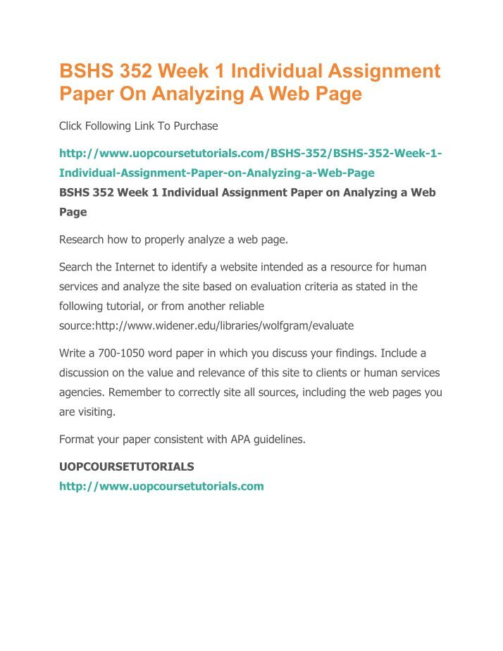 bshs 352 week 1 paper on Format your paper consistent with apa guidelines bshs 352 week 2 individual utilizing online social networking sites paper locate and create your own linkedin® professional business profile (creating the site is optional, however, you will still need to research the site and write about it.
