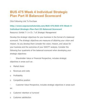 balanced scorecard bus 475 A+ solution university of phoenix bus 475 week 4 business model and strategic plan part iii: balanced scorecard and communication plan strategy.