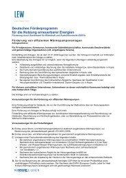 Deutsches Förderprogramm für die Nutzung erneuerbarer ... - Lew