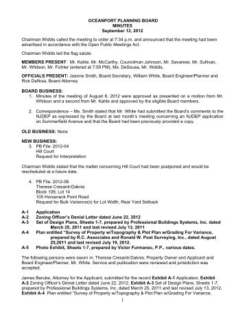 OCEANPORT PLANNING BOARD MINUTES September 12, 2012 ...