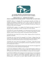 le conseil régional des ressources en eau des grands lacs et du ...