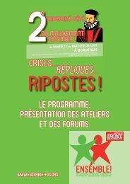 Le programme présentation des ateliers et des forums