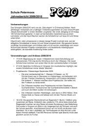 Schule Petermoos Jahresbericht 2009/2010