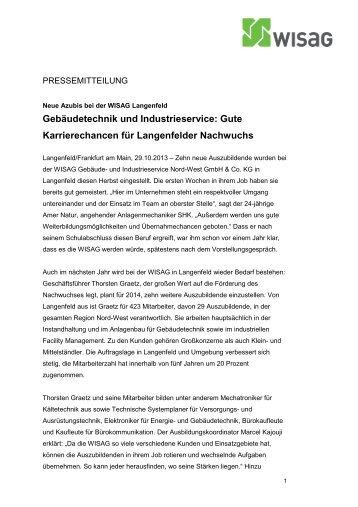 Neue Azubis WISAG Langenfeld