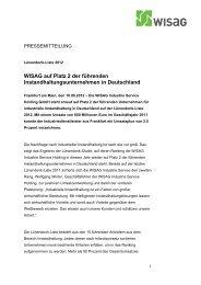 WISAG auf Platz 2 der führenden Instandhaltungsunternehmen in Deutschland