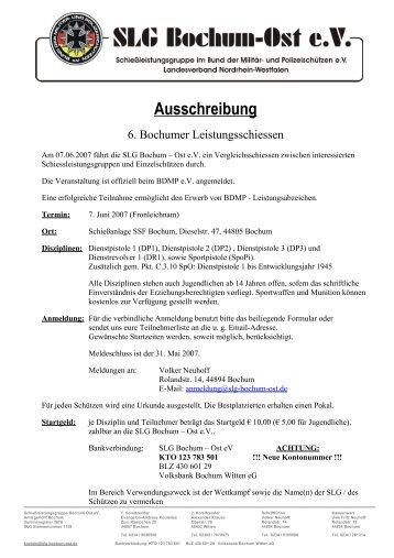 Ausschreibung - SLG Bochum-Ost eV
