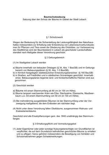 Baumschutzsatzung Satzung über den Schutz der ... - SPD Lebach