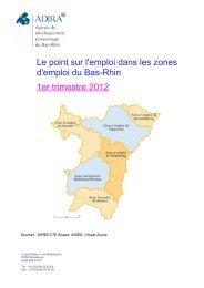 Le point sur l'emploi dans les zones d'emploi du Bas-Rhin 1er trimestre 2012