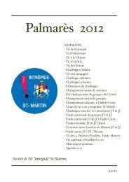 Palmarès 2012