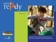 The Maryland Model for School Readiness - Community Indicators ...