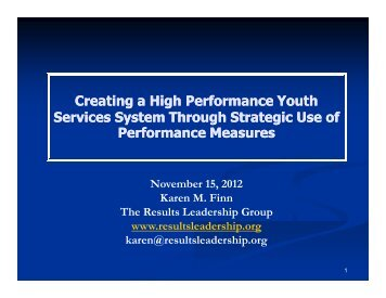 Creating a High Performance Youth Services System Through ...