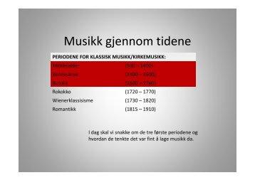 Musikk gjennom tidene