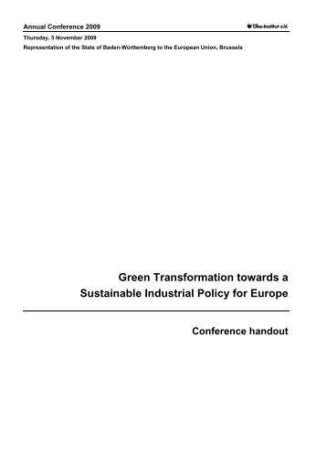 Green Transformation towards a Sustainable ... - Öko-Institut eV