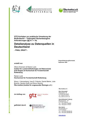 Detailanalyse zu Datenquellen in Deutschland - Öko-Institut eV