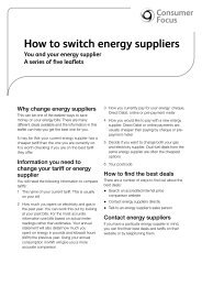 How to switch energy suppliers