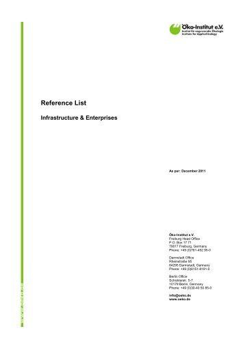 Reference List - Öko-Institut eV