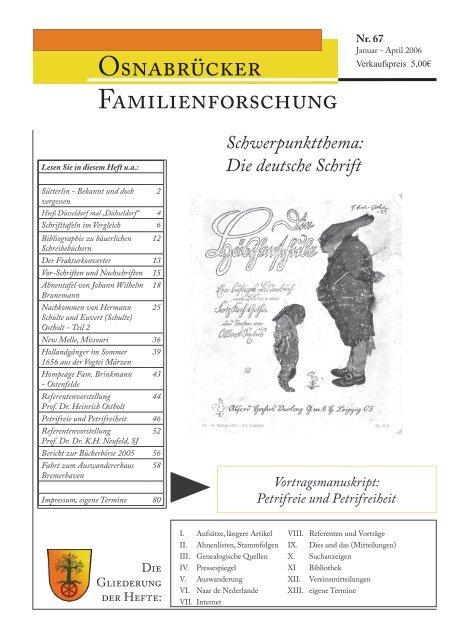 Heft 67 Jan Juni 2006 Arbeitskreises Familienforschung