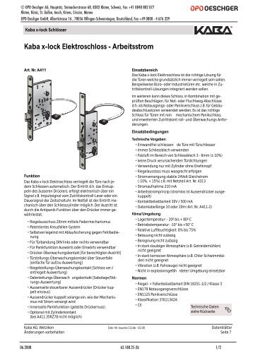 Kaba x-lock Elektroschloss - Arbeitsstrom - OPO Oeschger AG