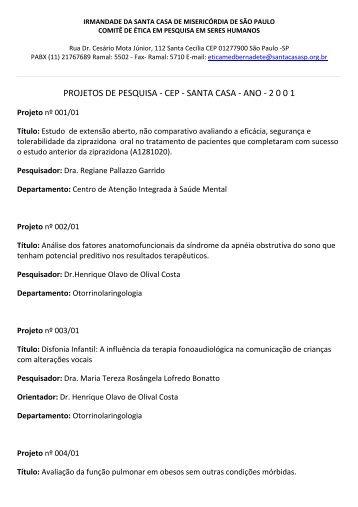 PROJETOS DE PESQUISA ‐ CEP ‐ SANTA CASA ‐ ANO ‐ 2 0 0 1