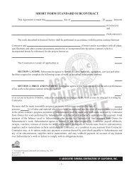 short form standard subcontract - Associated General Contractors of ...