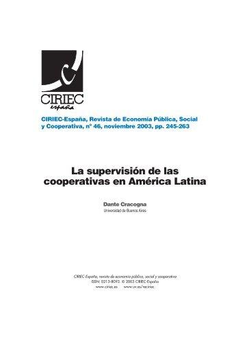 La supervisión de las cooperativas en América Latina