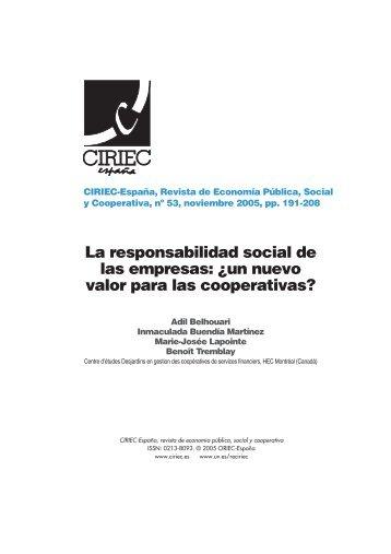 un nuevo valor para las cooperativas? - CIRIEC-ESPAÑA | Revista ...