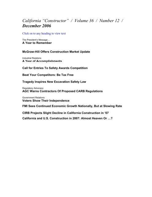 "California ""Constructor"" / Volume 36 / Number 12 / December 2006"