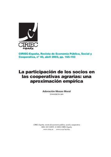 La participación de los socios en las cooperativas agrarias - CIRIEC ...