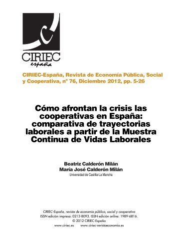 Cómo afrontan la crisis las cooperativas en España - CIRIEC ...