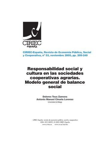 Responsabilidad social y cultura en las sociedades cooperativas ...