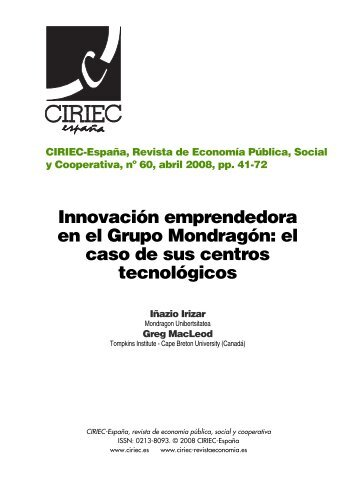 00 primeras páginas 60.qxd - CIRIEC-ESPAÑA | Revista de ...