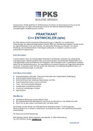 PRAKTIKANT C++ ENTWICKLER ( - PKS Software GmbH
