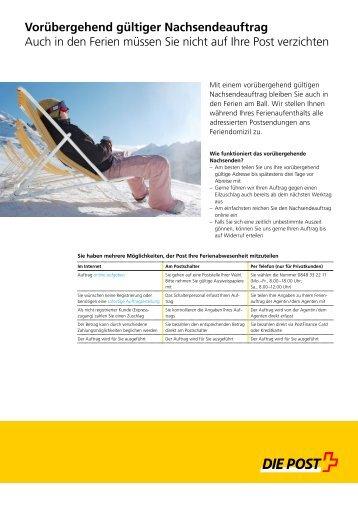 Vorübergehend gültiger Nachsendeauftrag - Die Schweizerische Post