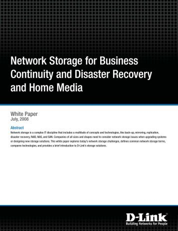 Network Storage for Business Continuity and Disaster ... - FTP - D-Link