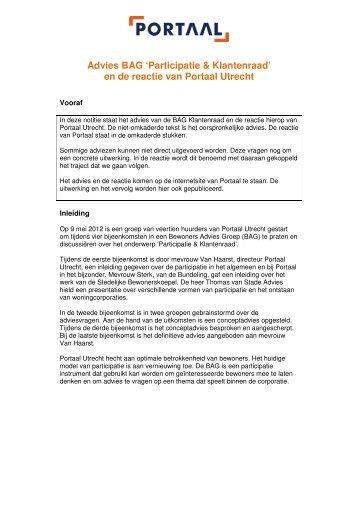 Advies BAG 'Participatie & Klantenraad' en de reactie van Portaal Utrecht