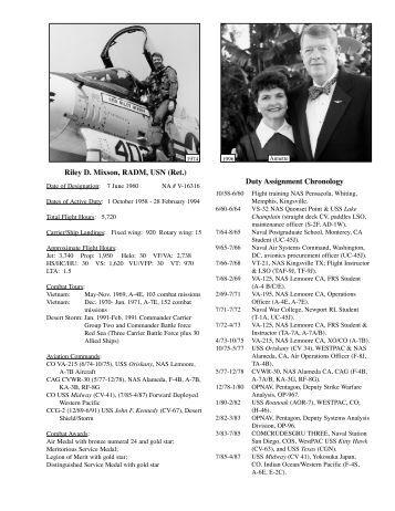 Riley D Mixson RADM USN (Ret.) Duty Assignment Chronology