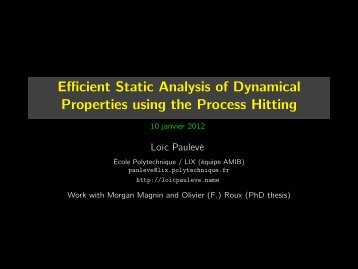 Efficient Static Analysis of Dynamical Properties using the Process Hitting