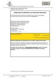 FORMULAIRE DE DEMANDE D'AUTORISATION PREALABLE