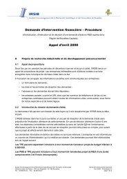 Demande d'intervention financière – Procédure Appel d'avril 2008