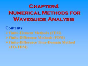 Numerical Methods for Waveguide Analysis