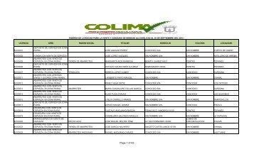 PADRON BEBIDAS SEPTIEMBRE 2013 - Colima